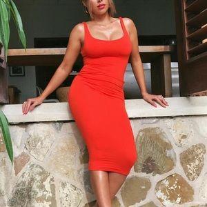 Naked Wardrobe Red Midi Dress